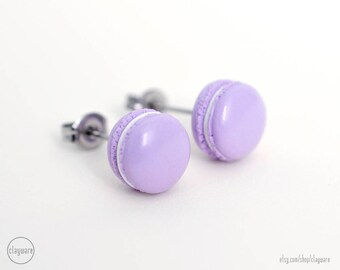 French Macaron Stud Earrings - Purple Lilac Lavender - Faux Food Earrings - Polymer Clay Miniature Food Jewelry