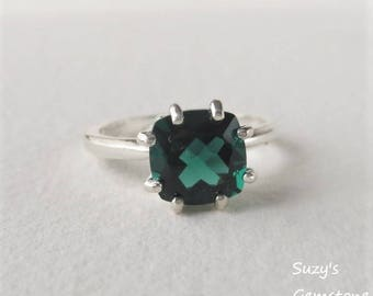 USA Amethyst Dark Green Genuine Natural Princess/Square Solitaire Ring set in Sterling Silver  Gorgeous!!