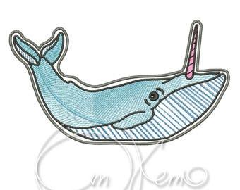 MACHINE EMBROIDERY DESIGN - Unicorn whale embroidery file