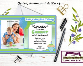 One Year Old Boy or First Birthday Party Invitation - Personalized Printable File