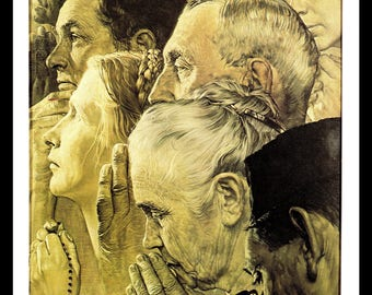 Norman Rockwell Art Print, Freedom of Worship, The Four Freedoms, 1943 Vintage Art, Book Plate Illustration