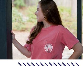 Monogrammed Comfort Colors Pocket T-Shirt | Monogram Shirt | Personalized shirt | Monogrammed pocket tee | monogrammed t-shirt personalized