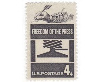10 Vintage Unused US Postage Stamps - 1958 4c Freedom of the Press -  Item No. 1119