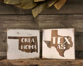 Choose Your State Sign- Oklahoma Sign - Farmhouse Sign - Farmhouse Decor - Wood Signs - Rustic Decor - Personalized Sign - Wood State Sign