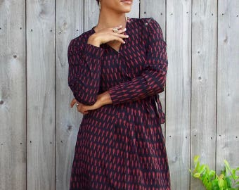 Boysenberry Red and Black Ikat Cotton Fair Trade Wrap Dress: Long Sleeve with Pockets