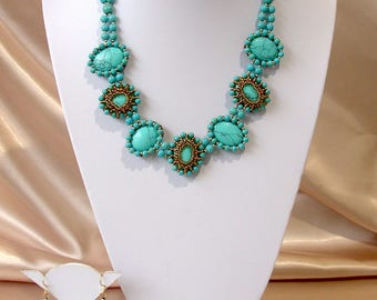 Turquoise bead jewellery set necklace earrings ring