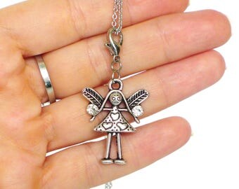 angel jewellery with rhinestones, guardian angel necklace, angel pendant silver tone, angel necklaces, charm necklaces, angel gift, kids