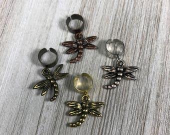 Dragonfly Charm Ear Cuffs, Owl Jewelry Dragon Fly Earrings No Piercing Ear Jewelry Good Luck Animal Totem Jewlery Boho Gold Silver Bronze