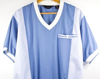 VTG RETRO TOP ϟ Simple Lt / Dk Blue & White Color Block Striped Shirt Button Up / Top