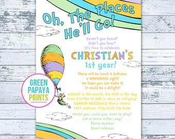 Oh The Places You'll Go Birthday Invitation - Printable - First Birthday - Any Age Oh The Places He'll Go - Birthday Invitation
