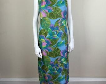 Malia Hawaiian watercolor floral print midi length shift dress 60s