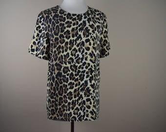 80s leopard print blouse - vintage leopard shirt - animal print top 1980s
