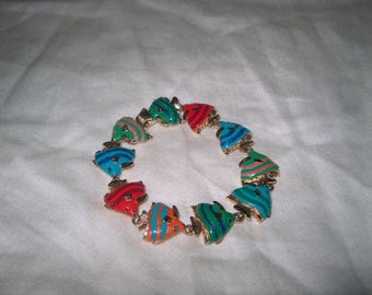 Vintage Costume Jewelry Kenneth J Lane Fish Bracelet, KJL Marked