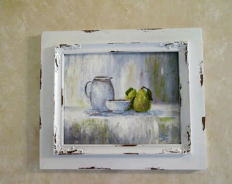 Original painting 8x10 canvas board Still Life Pears