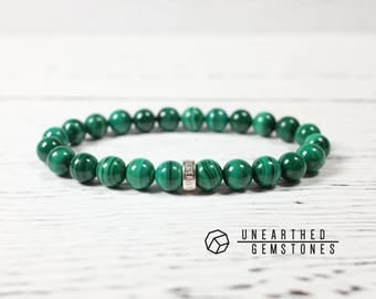 AAA Natural Malachite Bracelet - Genuine Malachite Jewelry, Healing Stones and Crystals, Mens Bracelet, Yoga Jewelry