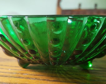 Small,green glass, footed bowl.