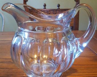 Heisey glass pitcher, panneled glass, holds 46oz.