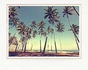 Beach Wall Decor Print Poster Tropical Palm Trees Sand Marine Retro Vintage Colour Photo Nature Sea Minimalist Blue Sky Leaf Sun Summer 1048