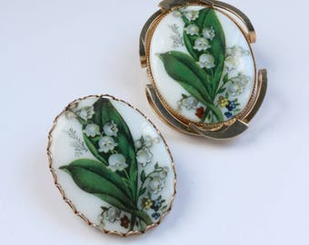 Floral Brooch - Antique Gold Floral Brooch - Painted Ceramic Brooch