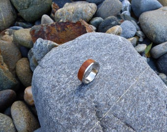 Stainless steel  and wood ring