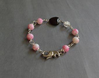 Vintage Beaded Bracelet, Pink Bracelet, Beaded Bracelet, Heart Bracelet, Elephant Bracelet, Gift Under 20 Dollar, Valentines Gift Bracelet.