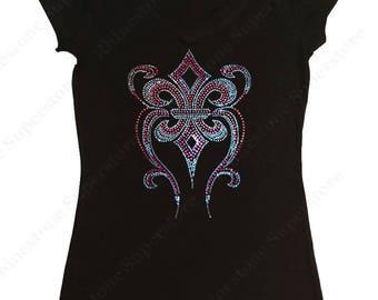 """Women's Rhinestone & Rhinestud T-Shirt """" Pink Fleur de Lis """" in S, M, L, 1x, 2x, 3x"""