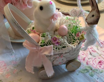 Whitewashed Bunny Basket Arrangement