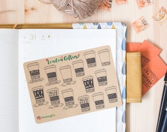 Types of coffee - decorative vintage look kraft watercolour planner stickers suitable for any planner -473-