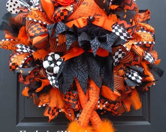 Halloween Witch Deco Mesh Wreath - Halloween Front Door Wreath - Halloween Witch Wreath - Halloween Mesh Wreath - Deco Mesh Wreath - Witch