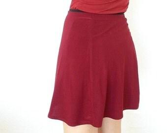 Red Elastic Cotton Floaty Short Skirt