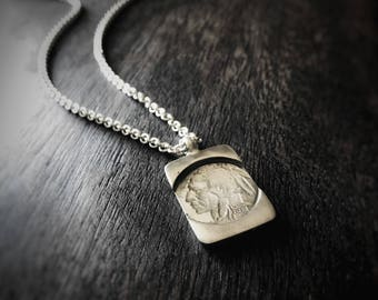 Oxidized Signet Indian Necklace, Silver Necklace, Mens Necklace, Rustic Necklace, Coin Necklace, Gift For Him, Boho Necklace, Mens Jewelry