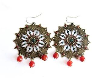 Bronze filigree earrings, large hoop earrings, boho jewelry, circle dangle earrings, green orange earrings, carnelian earrings, gift for her