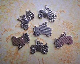 TRACTOR CHARM,Tibetan Silver Farm Tractor,John Deer Charm,Charms,Charm Lot Destash,Jewelry Making Supplies,Craft Supplies,Silver Alloy