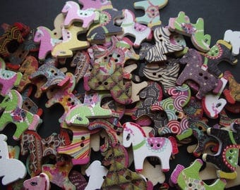 HORSE PONY BUTTONS,Wood Painted Horse Buttons,Fasteners,Closures,Painted Pony Buttons,Craft Supply,Scrapbook Buttons,Card Making Supply