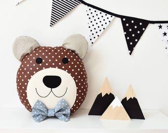 Bear Pillow Bear Plush Bear Toy Bear Cushion Kids Pillow Teddy Bear Baby Shower Gift Nursery Decor Teddy Cushion