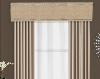 Valance Cornice Board Pelmet Box with Nail Head Window Treatment in Denton Natural Fabric - Custom Curtain Valance Box with Silver Nailhead