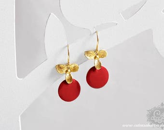 Ich bin Luxus - 'Emaille for YOU petit - cherry red' orchid earrings