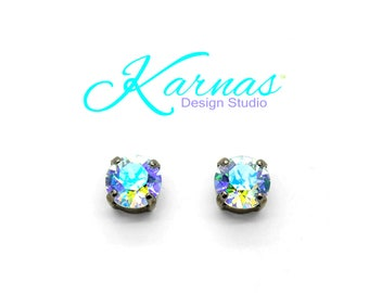 LIGHT AZORE SHIMMER 8mm Stud or Drop Leverback Earrings Made With Swarovski Crystal *Pick Your Finish *Karnas Design Studio *Free Shipping