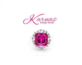 FUCHSIA HALO RING 12mm Cushion Cut Adjustable Ring Made With Swarovski Crystal *Choose Your Finish *Karnas Design Studio™ *Free Shipping*