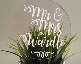 Mr & Mrs Custom Name Acrylic Wedding Cake Topper White