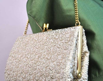 Vintage 1960s Gold Lame Brocade Evening Purse Handbag with Chain Strap Handle