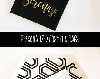 Personalized Cosmetic Bag - Bridesmaid Makeup Bag - Personalized Makeup Bags - Personalized Bridal Party Gifts (EB3222P)
