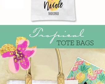 Pineapple Bag Pineapple Beach Bags Aloha Bridal Shower Bag Tropical Bachelorette Party Bags (EB3162TPB)