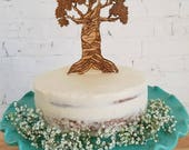 Carved Initials in tree Wedding Cake Topper, Personalized Wedding Cake Topper, Custom Cake topper,Lasercut Cake Topper,