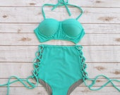 Bikini  High Waist Swimsuit  Bold Aqua Seafoam Vintage Retro Style Bustier High Waisted Swimwear Bathing Suit Criss Cross Cut Out Tie Side