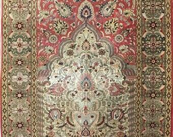 """Extremely fine Turkish Hereke rug %100 Silk & Gold threads 3'3""""x4'9'' ~1024 KPSi"""