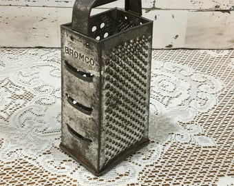 Grater ~ Metal 4 Sided Grater ~ BROMCO Metal Grater  ~  Retro Kitchen  ~ Primitive Farmhouse Décor ~ Cheese Shredder ~ Patina