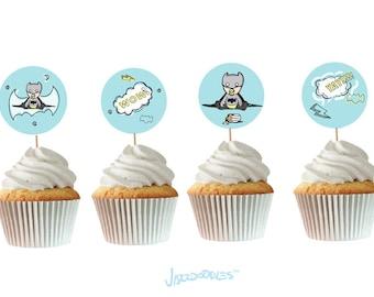 Baby Batman Printable Cupcake Toppers - Printable - Digital