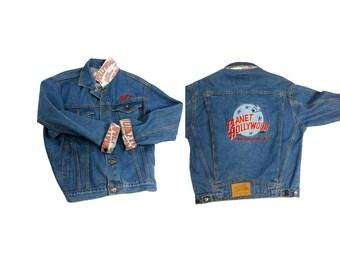 90s Denim Jean Jacket Planet Hollywood Washington D.C. Vintage Embroidered Patch Grunge Hip Hop Clothing 80s