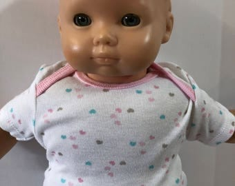 "15 inch Bitty Baby Clothes, TOP Only, Cute Tiny ""Colorful HEARTS"", 15 inch AG American Doll Bitty Baby & Twin Doll, Top Only - 4.00 Dollars"